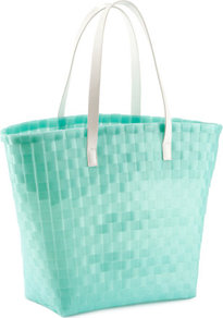 Beach Bag - secondary colour: white; predominant colour: mint green; occasions: casual, holiday; type of pattern: light; style: tote; length: handle; size: oversized; material: fabric; pattern: plain; trends: fluorescent; finish: plain