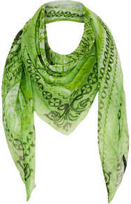 World Map Chiffon Scarf - predominant colour: lime; secondary colour: dark green; occasions: casual, evening, work, holiday; type of pattern: standard; style: square; size: large; trends: modern geometrics; material: tulle/sheer; pattern: patterned/print
