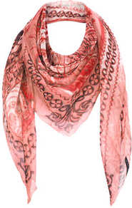 World Map Chiffon Scarf - secondary colour: burgundy; predominant colour: coral; occasions: casual, evening, work, holiday; type of pattern: standard; style: square; size: large; trends: modern geometrics; material: tulle/sheer; pattern: patterned/print