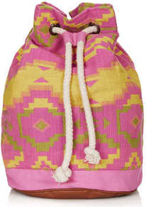 Neon Aztec Duffle Backpack - predominant colour: hot pink; secondary colour: yellow; occasions: casual, holiday; type of pattern: large; style: rucksack; length: rucksack; size: standard; material: fabric; embellishment: tassels; trends: modern geometrics; finish: plain; pattern: patterned/print