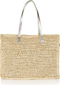 Large Paper Straw Shopper - predominant colour: camel; secondary colour: silver; occasions: casual, holiday; type of pattern: light; style: tote; length: handle; size: standard; material: macrame/raffia/straw; pattern: plain; trends: metallics; finish: plain