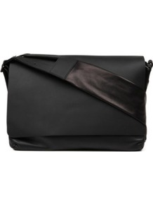 Foldover Flap Shoulder Bag - predominant colour: black; occasions: casual, work; type of pattern: standard; style: shoulder; length: across body/long; size: standard; material: leather; pattern: plain; finish: plain