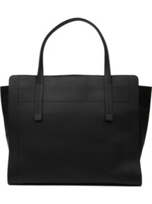 Leather Tote - predominant colour: black; occasions: casual, work; type of pattern: standard; style: tote; length: handle; size: oversized; material: leather; pattern: plain; finish: plain