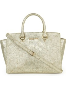 Selma Large Top Zip Satchel - predominant colour: champagne; occasions: casual, work; style: tote; length: handle; size: oversized; material: leather; pattern: plain; trends: metallics; finish: metallic