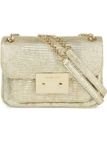 Sloan Python Print Shoulder Bag - predominant colour: champagne; occasions: casual, evening, occasion; style: shoulder; length: shoulder (tucks under arm); size: small; material: leather; pattern: plain; trends: metallics; finish: metallic; embellishment: chain/metal