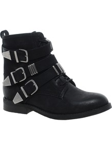 Atik Leather Ankle Boots - predominant colour: black; occasions: casual; material: leather; heel height: mid; embellishment: buckles; heel: block; toe: round toe; boot length: ankle boot; style: standard; finish: plain; pattern: plain