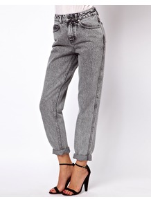 Mom Jeans In Acid Wash Grey - style: boyfriend; length: standard; pattern: plain; waist: high rise; pocket detail: traditional 5 pocket; predominant colour: mid grey; occasions: casual; fibres: cotton - 100%; texture group: denim; pattern type: fabric