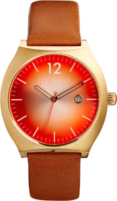Orange Burst Face Watch - predominant colour: bright orange; secondary colour: tan; occasions: casual, work; style: leather strap; size: standard; material: leather; finish: plain; pattern: plain