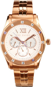 Chronograph Rose Gold Watch - predominant colour: gold; secondary colour: gold; occasions: casual, evening, work, occasion, holiday; style: classic; size: large/oversized; material: chain/metal; embellishment: crystals; trends: metallics; finish: plain; pattern: plain