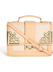 Bag With Metal Flower Fitting And Tophandle - secondary colour: blush; predominant colour: nude; occasions: casual; type of pattern: standard; style: messenger; length: across body/long; size: small; material: faux leather; finish: plain; pattern: colourblock; embellishment: chain/metal