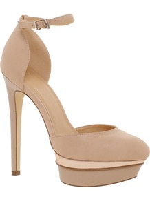 Parody Platforms - predominant colour: nude; secondary colour: gold; occasions: evening, occasion; material: faux leather; ankle detail: ankle strap; heel: platform; toe: round toe; style: courts; finish: plain; pattern: plain; heel height: very high