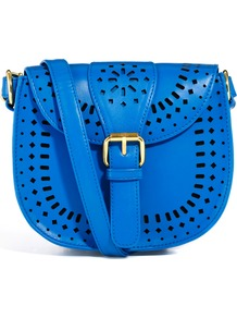 Festival Across Body Bag With Cutout Detail - predominant colour: diva blue; occasions: casual, holiday; style: saddle; length: across body/long; size: small; material: faux leather; pattern: plain; finish: plain