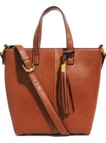 Mini Tote Bag With Tassel Detail - predominant colour: tan; occasions: casual, work; style: tote; length: handle; size: small; material: faux leather; embellishment: tassels; pattern: plain; finish: plain
