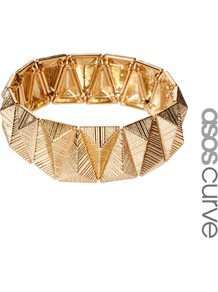 Curve Stripe Triangle Stretch Bracelet - predominant colour: gold; occasions: casual, evening, occasion, holiday; style: bangle; size: standard; material: chain/metal; trends: metallics; finish: metallic; embellishment: chain/metal