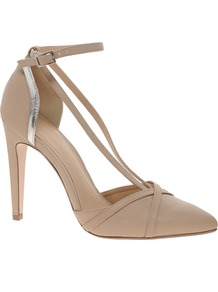 Pardon Pointed High Heels - predominant colour: nude; secondary colour: silver; occasions: evening, occasion; material: faux leather; heel height: high; ankle detail: ankle strap; heel: stiletto; toe: pointed toe; style: courts; finish: plain; pattern: colourblock