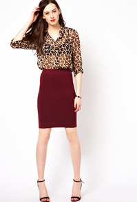 Ribbed Mini Skirt - pattern: plain; style: pencil; fit: tight; waist: high rise; predominant colour: burgundy; occasions: casual, evening; length: just above the knee; fibres: viscose/rayon - stretch; texture group: jersey - clingy; pattern type: fabric