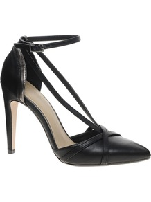 Pardon Pointed High Heels - predominant colour: black; occasions: evening, work, occasion; material: faux leather; heel height: high; ankle detail: ankle strap; heel: stiletto; toe: pointed toe; style: courts; finish: plain; pattern: plain