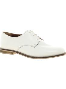 Mischief Leather Flat Shoes - predominant colour: white; occasions: casual, work; material: leather; heel height: flat; toe: round toe; style: brogues; finish: plain; pattern: plain
