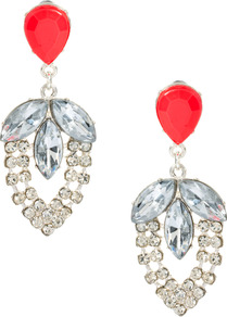 Pretty Pop Earring - secondary colour: coral; predominant colour: silver; occasions: evening, occasion; style: drop; length: mid; size: large/oversized; material: chain/metal; fastening: pierced; finish: metallic; embellishment: crystals