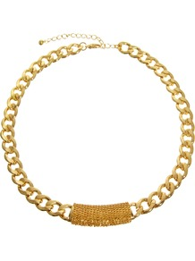 Chain Wrap Necklace - predominant colour: gold; occasions: casual, evening, work, holiday; style: standard; length: mid; size: large/oversized; material: chain/metal; trends: metallics; finish: metallic; embellishment: chain/metal