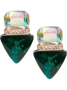 Jewelled Triangle Stud Earrings - predominant colour: dark green; occasions: casual, evening, occasion, holiday; style: drop; length: mid; size: standard; material: chain/metal; fastening: pierced; finish: plain; embellishment: jewels; secondary colour: clear