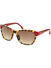 Zoey Sunglasses - secondary colour: true red; predominant colour: chocolate brown; occasions: casual, holiday; style: d frame; size: large; material: plastic/rubber; pattern: animal print; finish: plain