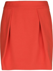 Pleated Skirt - length: mid thigh; pattern: plain; style: pleated; waist: high rise; predominant colour: coral; occasions: casual, evening, work, occasion; fibres: polyester/polyamide - stretch; hip detail: structured pleats at hip; fit: straight cut; pattern type: fabric; texture group: woven light midweight