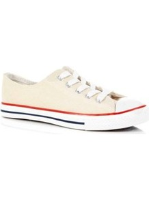Cream Lace Up Trainers - secondary colour: white; predominant colour: ivory; occasions: casual, holiday; material: fabric; heel height: flat; toe: round toe; style: trainers; finish: plain; pattern: plain; embellishment: toe cap
