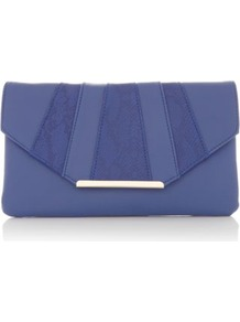 Blue Croc Panel Envelope Clutch - predominant colour: indigo; occasions: evening, occasion; type of pattern: light; style: clutch; length: hand carry; size: small; material: faux leather; pattern: animal print; finish: plain