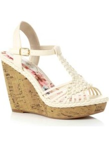 Cream Woven Strap Cork Wedges - predominant colour: ivory; occasions: casual, holiday; material: faux leather; heel height: high; ankle detail: ankle strap; heel: wedge; toe: open toe/peeptoe; style: strappy; finish: plain; pattern: plain