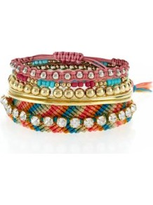 Multicoloured Woven Aztec Diamante Bracelet Stack - secondary colour: gold; occasions: casual, evening, holiday; predominant colour: multicoloured; style: friendship bracelet; size: standard; material: fabric; trends: metallics; finish: plain; embellishment: crystals