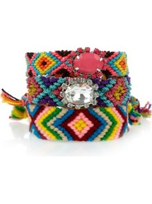Multicoloured Woven Gem Friendship Bracelets - occasions: casual, evening, work, holiday; predominant colour: multicoloured; style: friendship bracelet; size: standard; material: fabric; trends: modern geometrics; finish: plain; embellishment: beading; secondary colour: clear