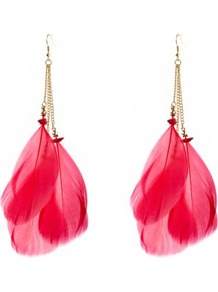 Pink Triple Feather Earrings - predominant colour: true red; secondary colour: gold; occasions: evening, work, holiday; style: drop; length: long; size: standard; material: chain/metal; fastening: pierced; trends: fluorescent; finish: plain; embellishment: feathers