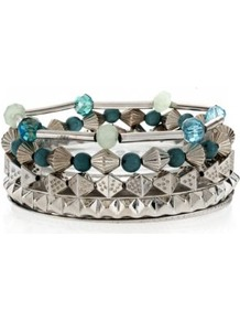 Silver And Blue Bead Bracelet Stack - secondary colour: turquoise; predominant colour: silver; occasions: casual, evening, work, holiday; style: bangle; size: standard; material: chain/metal; trends: metallics; finish: plain; embellishment: beading