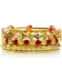 Gold Dice And Bead Bracelet Stack - secondary colour: true red; predominant colour: gold; occasions: casual, evening, work, holiday; style: bangle; size: standard; material: chain/metal; trends: metallics; finish: plain; embellishment: beading