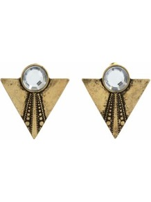 Gold Triangle Gemstone Stud Earrings - predominant colour: gold; occasions: evening, work, occasion, holiday; style: stud; length: short; size: small; material: chain/metal; fastening: pierced; trends: metallics; finish: plain; embellishment: crystals; secondary colour: clear