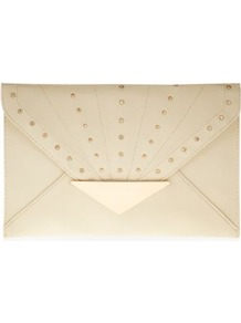 Cream Stud Tab Envelope Clutch - predominant colour: ivory; occasions: evening, occasion, holiday; type of pattern: standard; style: clutch; length: hand carry; size: small; material: faux leather; embellishment: studs; pattern: plain; finish: plain