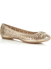 Gold Cut Out Ballet Pumps - predominant colour: gold; occasions: casual, evening, holiday; material: faux leather; heel height: flat; toe: round toe; style: ballerinas / pumps; trends: metallics; finish: metallic; pattern: plain