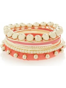 Coral And Gold Ball Bracelet Stack - predominant colour: coral; occasions: casual, evening, work, holiday; style: bangle; size: small/fine; material: chain/metal; trends: metallics; finish: metallic; embellishment: crystals; secondary colour: clear