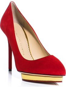 Debbie Suede Shoes - predominant colour: true red; secondary colour: gold; occasions: evening, occasion; material: suede; heel: platform; toe: pointed toe; style: courts; finish: plain; pattern: plain; heel height: very high