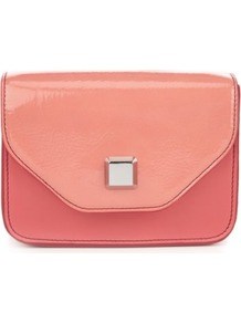 Limited Collection Boxy Chain Bag - predominant colour: coral; occasions: evening; style: clutch; length: hand carry; size: small; material: faux leather; pattern: plain; finish: patent