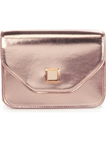 Limited Collection Boxy Chain Bag - predominant colour: blush; occasions: evening; style: clutch; length: hand carry; size: small; material: faux leather; pattern: plain; finish: patent