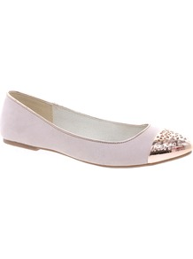 Abdula Toecap Flat Shoes - predominant colour: blush; secondary colour: gold; occasions: casual; material: fabric; heel height: flat; toe: pointed toe; style: ballerinas / pumps; finish: plain; pattern: plain; embellishment: toe cap