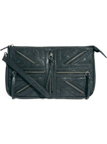 Unity Zip Feature Clutch Bag - predominant colour: black; occasions: casual, evening; style: clutch; length: hand carry; size: small; material: faux leather; embellishment: zips; pattern: plain; finish: plain