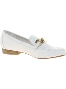 White Chain Front Loafers - predominant colour: white; secondary colour: gold; occasions: casual, evening, work, holiday; material: faux leather; heel height: flat; toe: round toe; style: loafers; finish: plain; pattern: plain; embellishment: chain/metal