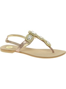 Jewelled Sandals - predominant colour: gold; occasions: casual, evening, holiday; material: leather; heel height: flat; embellishment: jewels; heel: standard; toe: toe thongs; style: flip flops / toe post; trends: metallics; finish: metallic; pattern: animal print