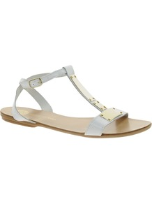 T Bar Metal White Sandals - predominant colour: white; secondary colour: gold; occasions: casual, holiday; material: leather; heel height: flat; ankle detail: ankle strap; heel: standard; toe: open toe/peeptoe; style: standard; finish: plain; pattern: plain; embellishment: chain/metal