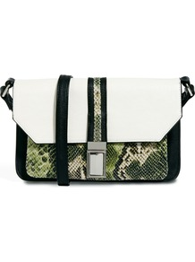 Across Body Bag With Snake Front Pocket - predominant colour: white; secondary colour: dark green; occasions: casual; type of pattern: standard; style: messenger; length: across body/long; size: small; material: faux leather; pattern: animal print; finish: plain