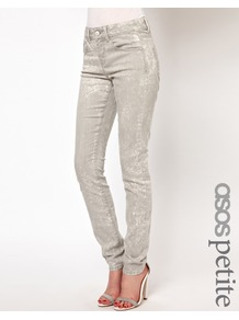Petite Elgin Supersoft Skinny Jeans In Soft Grey Acid Wash - style: skinny leg; length: standard; pattern: plain; pocket detail: traditional 5 pocket; waist: mid/regular rise; predominant colour: light grey; occasions: casual, evening, holiday; fibres: cotton - stretch; texture group: denim; pattern type: fabric