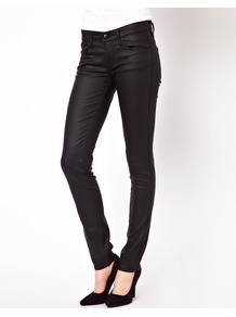 Coated Skinny Jeans - style: skinny leg; length: standard; pattern: plain; pocket detail: traditional 5 pocket; waist: mid/regular rise; predominant colour: black; occasions: casual, evening; fibres: cotton - stretch; texture group: waxed cotton; pattern type: fabric